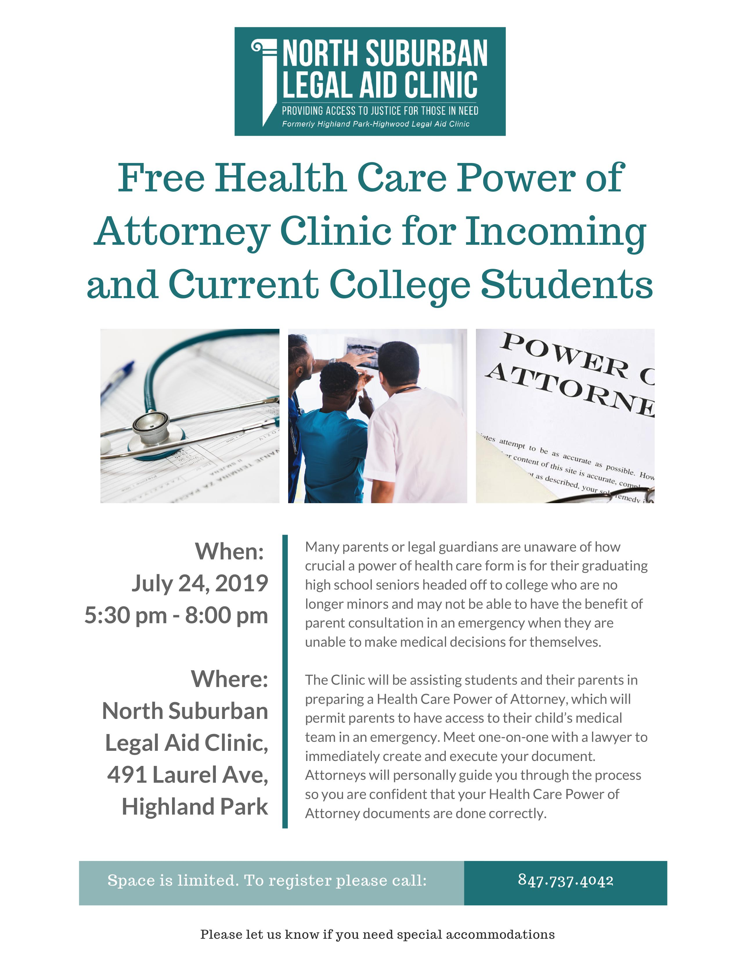 Health Care Power of Attorney Clinic for Graduating Seniors